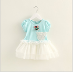DRESS BLUE 3D FLOWER TUTU SZ 90-120 4PCS = 348RB