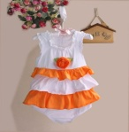 ZOE ROMPER WHITE ORANGE SZ 6M-24M 6PCS = 438RB