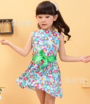 DRESS FLOWER RED BLUE YELLOW SZ 110-150 5PCS = 360RB
