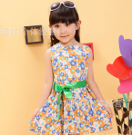 DRESS FLOWER ORANGE BLUE SZ 110-150 5PCS = 360RB