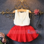 GIRLSET WHITE RED NECKLACE SZ 90-140 6PCS = 654RB