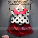 GIRLSET WHITE POLKA RED NECKLACE SZ 90-140 6PCS = 708RB