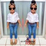 GIRLSET 3IN1 WHITE JEANS SZ 2-7Y 6PCS = 570RB