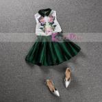 GIRLSET WHITE GREEN SZ 90-140 6PCS = 684RB